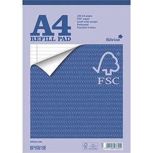 Image of Silvine Headbound Refill Pad / A4 / Feint Ruled with Margin / 4-Holes / 160 Pages / Pack of 5