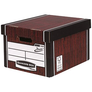 Image of Fellowes Bankers Box Premium 725 Classic Storage Boxes / Woodgrain / Pack of 10