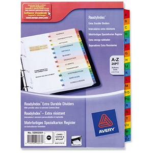 Image of Avery ReadyIndex Dividers Card with Mylar Tabs / A4 / A-Z