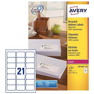 Image of Avery Recycled Laser Addressing Labels / 21 per Sheet / 63.5x38.1mm / White / LR7160-100 / 2100 Labels