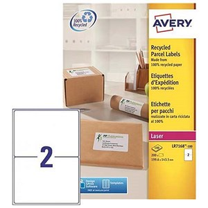 Image of Avery Recycled Laser Addressing Labels / 2 per Sheet / 199.6x143.5mm / White / LR7168-100 / 200 Labels