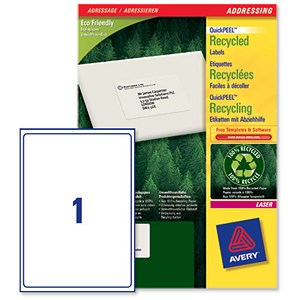 Image of Avery Recycled Laser Addressing Labels / 1 per Sheet / 199.6x289.1mm / White / LR7167-100 / 100 Labels