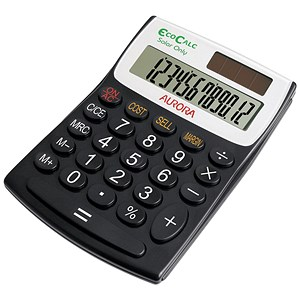 Image of Aurora EcoCalc Calculator Desktop Recycled Solar Powered 12 Digit 3 Key Memory Ref EC404