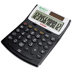 Image of Aurora EcoCalc Calculator Desktop Large Recycled Solar and Battery Power 12 Digit 3 Key Memory Ref EC707