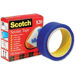 Image of Scotch 820 Secure Anti-Tampering Tape / 35mmx33m / Blue