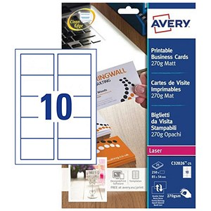 Image of Avery Quick & Clean Laser Business Cards / 85mm x 54mm / Satin Ultra White / 270gsm / Pack of 250