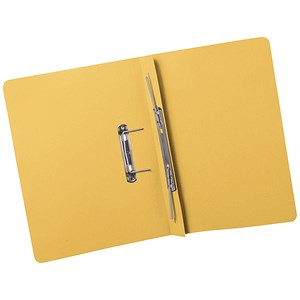 Image of 5 Star Transfer Spring Files Heavyweight 380gsm Capacity 38mm Foolscap Yellow [Pack 25]