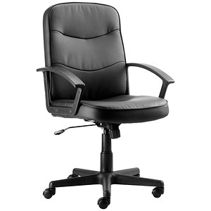 Image of Trexus Rutland Leather Managers Chair - Black