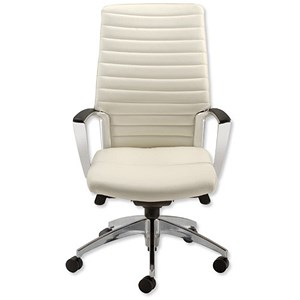 Image of Adroit Zip Executive Armchair Back H640mm W500xD510xH440-540mm Leather White Ref AccordWL