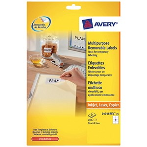 Image of Avery Removable Laser Labels / 8 per Sheet / 96x63.5mm / White / L4745REV-25 / 200 Labels