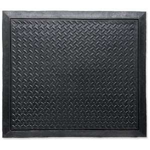 Image of Floortex Rubber Mat / Anti Fatigue & Anti Slip / Bevelled Edge / 710x780mm / Ripple Pattern