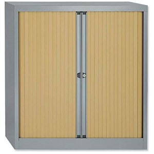 Image of Bisley Low A4 EuroTambour / 1 Shelf / Silver Frame / Beech Shutters