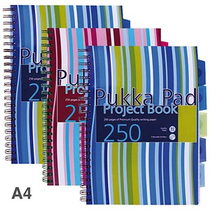 Image of Pukka Pad Wirebound Project Notebook / A4 / Perforated / Ruled / 250 Pages with 5-Divider / Assorted Colours / Pack of 3