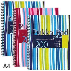 Image of Pukka Pad Jotta Wirebound Notebook / A4 / 4 Holes / Ruled / 200 Pages / Assorted / Pack of 3