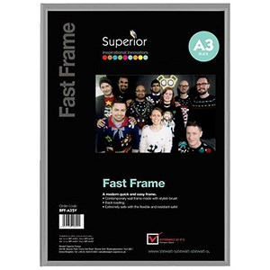 Image of Silver Photo Frame - Back Loading - Clear Front - A3