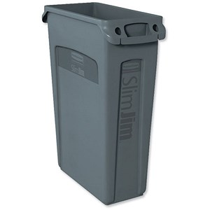 Image of Rubbermaid Slim Jim Recycling Bin / Venting Channels / W558xD279xH762mm / 87 Litre / Grey