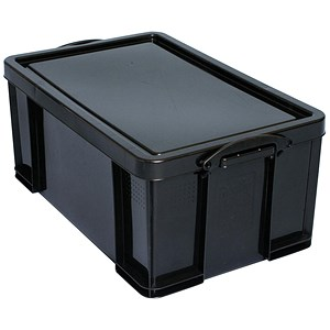 Image of Really Useful Storage Box / Black Plastic / 64 Litre