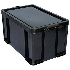 Image of Really Useful Storage Box / Black Plastic / 84 Litre