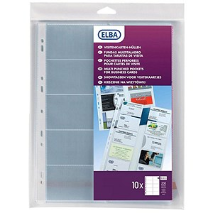 Image of Elba Multipunched Business Card Pockets / A4 / Clear / Pack of 10