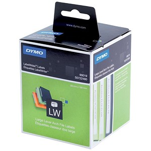 Image of Dymo LabelWriter Labels Lever Arch File Large 59x190mm White Ref 99019 S0722480 [Pack 110]