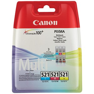 Image of Canon CLI-521 Inkjet Cartridge Pack - Cyan, Magenta and Yellow (3 Cartridges)