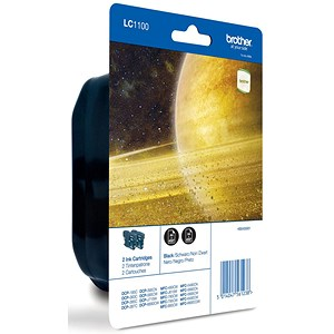 Image of Brother LC1100BKBP2 Black Inkjet Cartridges (Twin Pack)