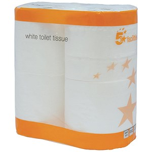 Image of 5 Star Toilet Tissue / White / 2 Rolls of 320 Sheets per Pack / 18 Packs