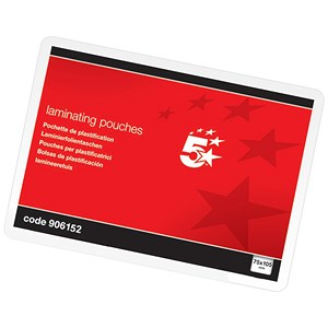 Image of 5 Star Laminating Pouches / 72x103mm / Medium / 250 Micron / Glossy / Pack of 100
