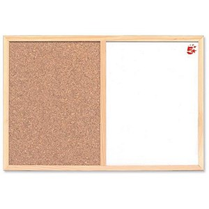 Image of 5 Star Combination Noticeboard / Cork & Drywipe / W600xH400mm