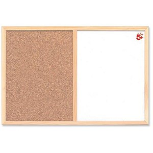 Image of 5 Star Combination Noticeboard / Cork & Drywipe / W900xH600mm