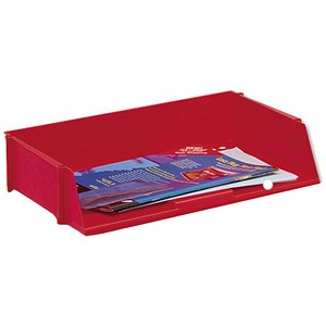 Image of 5 Star Wide Entry Stackable Letter Tray / High-impact Polystyrene / Red