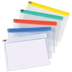 Image of 5 Star A5 Zip Filing Bags with Clear PVC Front & Coloured Seal / Assorted / Pack of 30