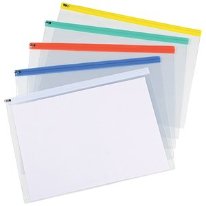 Image of 5 Star A3 Zip Filing Bags with Clear PVC Front & Coloured Seal / Assorted / Pack of 5