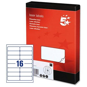 Image of 5 Star Multipurpose Laser Labels / 16 per Sheet / 99.1x34mm / White / 4000 Labels