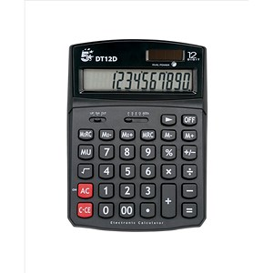 Image of 5 Star Calculator Desktop Solar/Battery Power 12 Digit 2 Set Memory 91x125x11mm