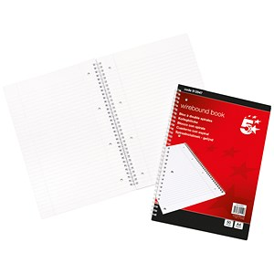 Image of 5 Star Wirebound Notebook / A4 / Ruled with Margin Perforated / 100 Pages / Pack of 10