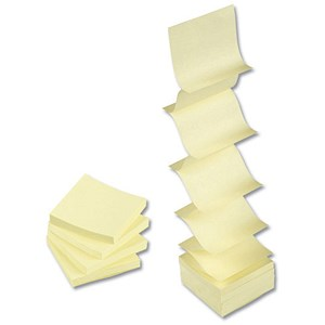 Image of 5 Star Concertina Sticky Notes / 76x76mm / Yellow / Pack of 12 x 100 Notes