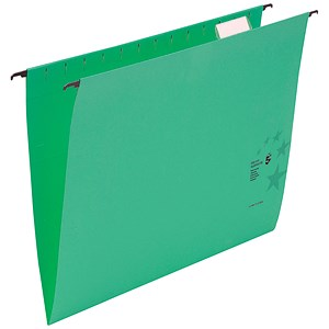 Image of 5 Star Wrapover Bar Suspension Files / V Base / 15mm Capacity / Foolscap / Green / Pack of 50