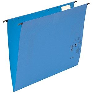 Image of 5 Star Suspension Files with Wrapover Bar / V Base / 15mm Capacity / Foolscap / Blue / Pack of 50