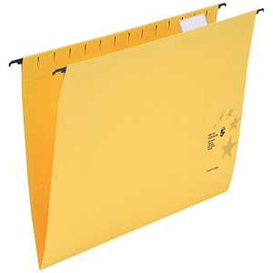 Image of 5 Star Wrapover Bar Suspension Files / V Base / 15mm Capacity / Foolscap / Yellow / Pack of 50