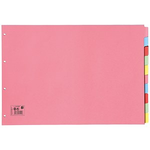 Image of 5 Star Subject Dividers / Multipunched Manilla Board / 10-Part / Oblong / A3 / Assorted