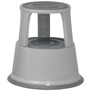 Image of 5 Star Mobile Step Stool / Metal / Grey