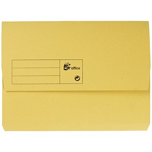 Image of 5 Star A4 Document Wallets Half Flap / 285gsm / Yellow / Pack of 50
