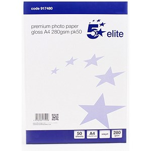 Image of 5 Star A4 Gloss Inkjet Photo Paper / White / 280gsm / Pack of 50 Sheets