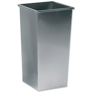Image of 5 Star Square Waste Bin / Metal / Scratch-resistant / W325xD325xH642mm / 48 Litres / Silver Metallic