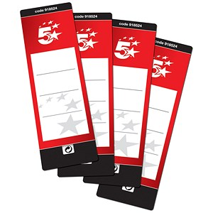 Image of 5 Star Spine Labels for Lever Arch File / Self-adhesive / 190x60mm / Pack of 10