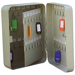 Image of 5 Star Key Cabinet Steel Lockable Holds 48 Keys W180xD80xH250mm