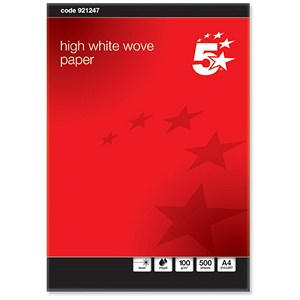 Image of 5 Star A4 Prestige Wove Finish Business Paper / High White / 100gsm / Ream (500 Sheets)