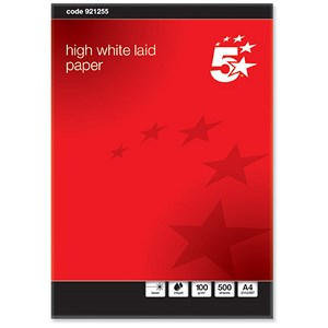 Image of 5 Star A4 Prestige Laid Finish Business Paper / High White / 100gsm / Ream (500 Sheets)