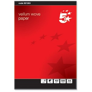 Image of 5 Star A4 Prestige Wove Finish Business Paper / Vellum / 100gsm / Ream (500 Sheets)